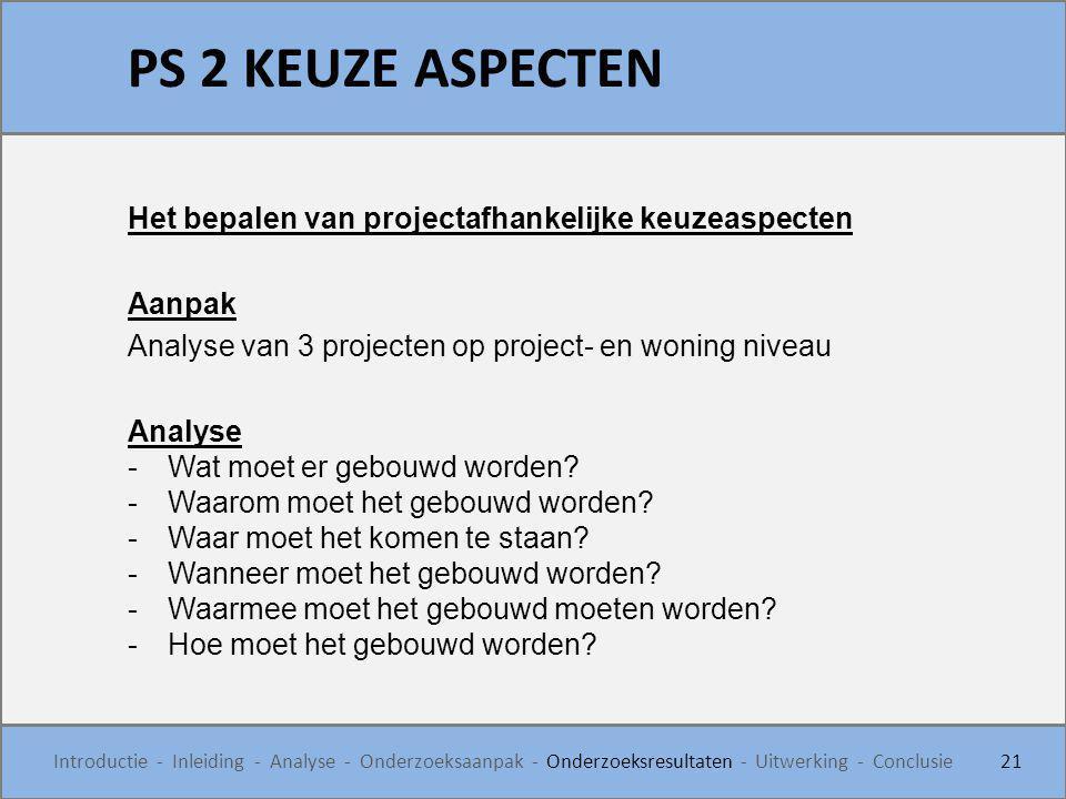 PS 2 KEUZE ASPECTEN 21 Introductie - Inleiding - Analyse - Onderzoeksaanpak - Onderzoeksresultaten - Uitwerking - Conclusie Het bepalen van projectafh