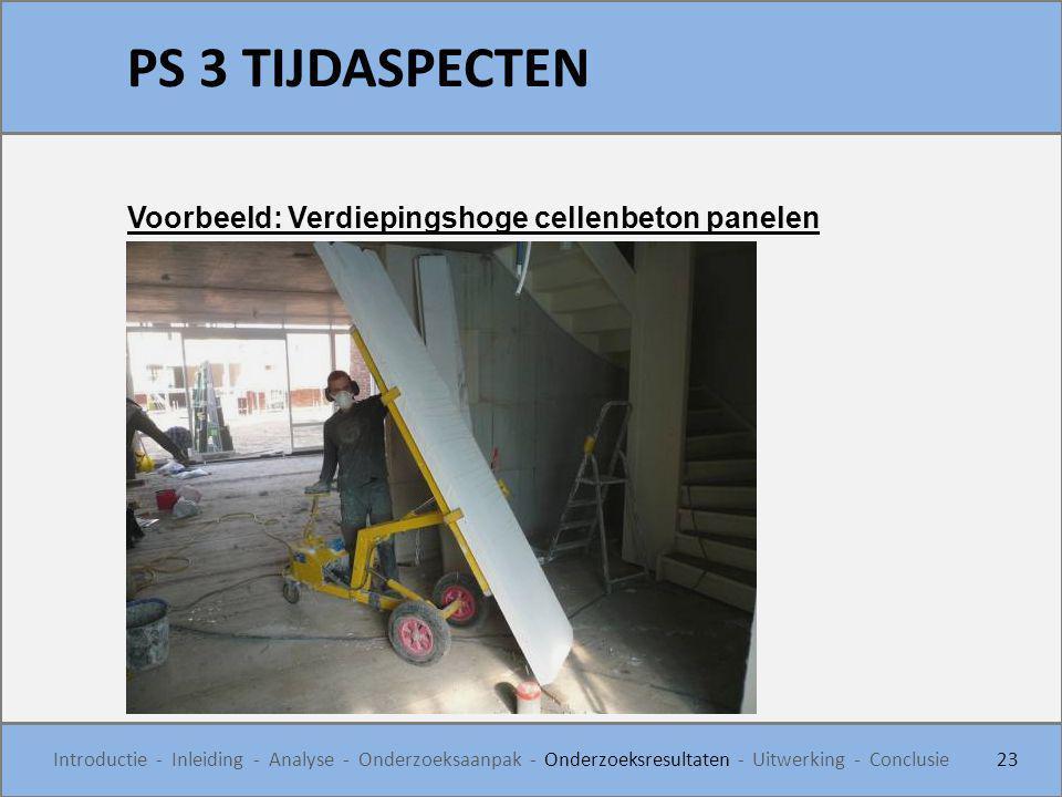 PS 3 TIJDASPECTEN 23 Introductie - Inleiding - Analyse - Onderzoeksaanpak - Onderzoeksresultaten - Uitwerking - Conclusie Voorbeeld: Verdiepingshoge c
