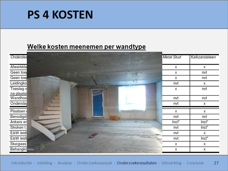 PS 4 KOSTEN 27 Introductie - Inleiding - Analyse - Onderzoeksaanpak - Onderzoeksresultaten - Uitwerking - Conclusie Welke kosten meenemen per wandtype