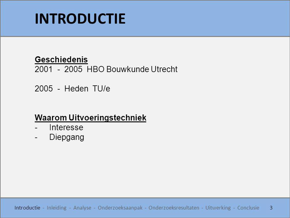Geschiedenis 2001 - 2005 HBO Bouwkunde Utrecht 2005 - Heden TU/e Waarom Uitvoeringstechniek -Interesse -Diepgang INTRODUCTIE 3 Introductie - Inleiding