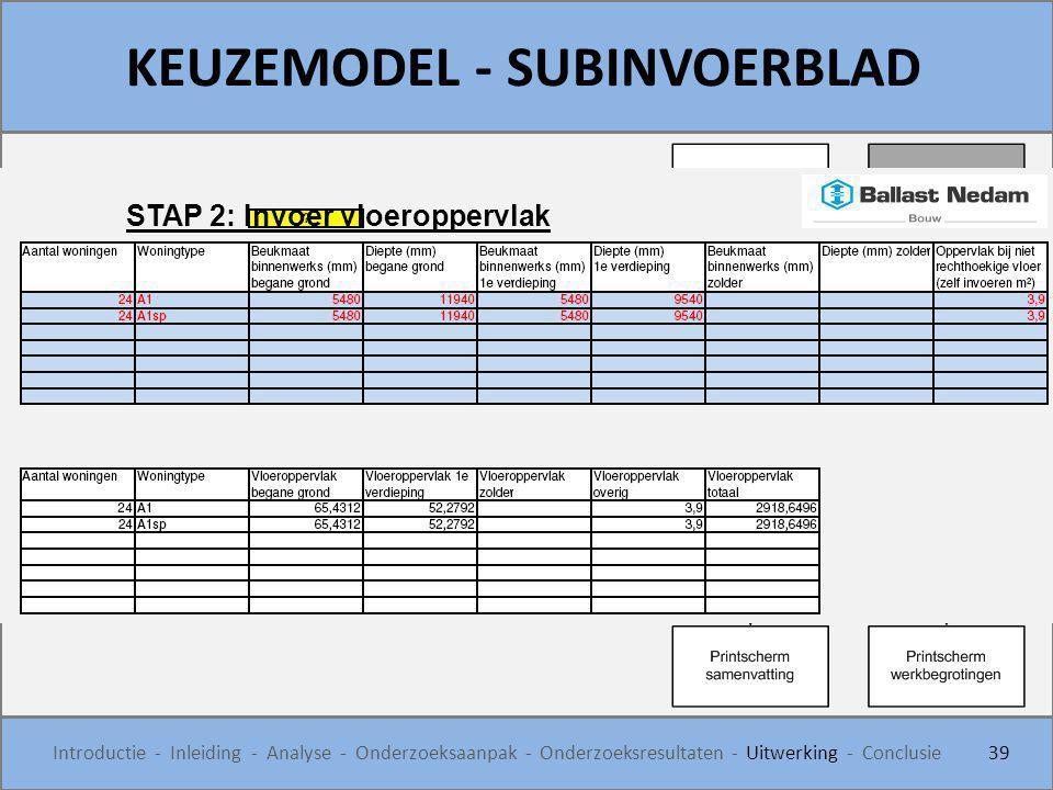 KEUZEMODEL - SUBINVOERBLAD 39 Introductie - Inleiding - Analyse - Onderzoeksaanpak - Onderzoeksresultaten - Uitwerking - Conclusie STAP 2: Invoer vloe