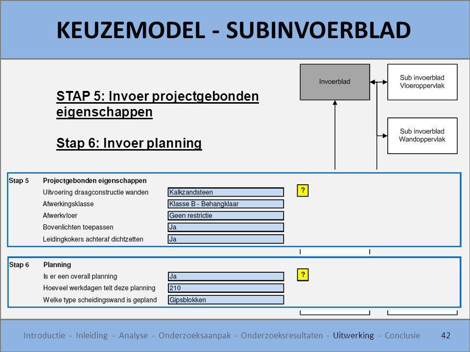 KEUZEMODEL - SUBINVOERBLAD 42 Introductie - Inleiding - Analyse - Onderzoeksaanpak - Onderzoeksresultaten - Uitwerking - Conclusie STAP 5: Invoer proj