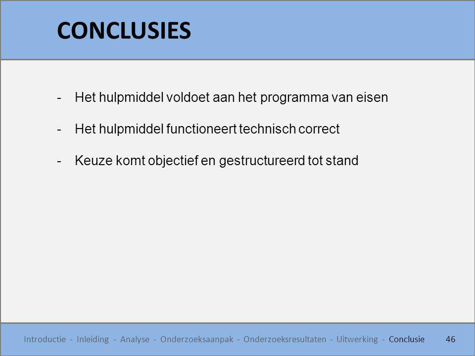 CONCLUSIES 46 Introductie - Inleiding - Analyse - Onderzoeksaanpak - Onderzoeksresultaten - Uitwerking - Conclusie -Het hulpmiddel voldoet aan het pro