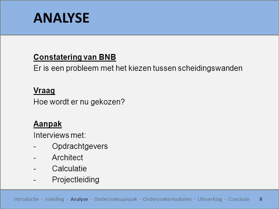 Constatering van BNB Er is een probleem met het kiezen tussen scheidingswanden Vraag Hoe wordt er nu gekozen? Aanpak Interviews met: -Opdrachtgevers -