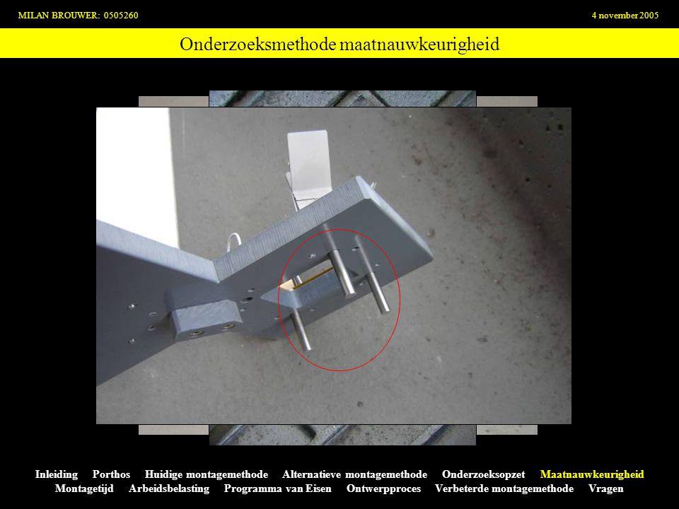 Onderzoeksmethode maatnauwkeurigheid MILAN BROUWER: 05052604 november 2005 Inleiding Porthos Huidige montagemethode Alternatieve montagemethode Onderz