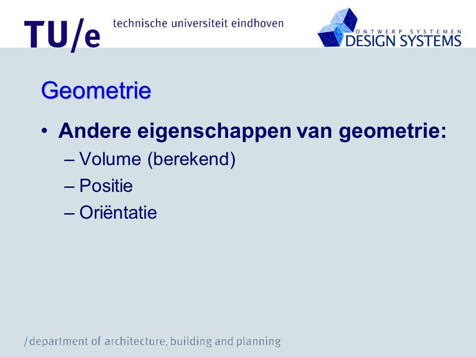 Geometrie Andere eigenschappen van geometrie: –Volume (berekend) –Positie –Oriëntatie