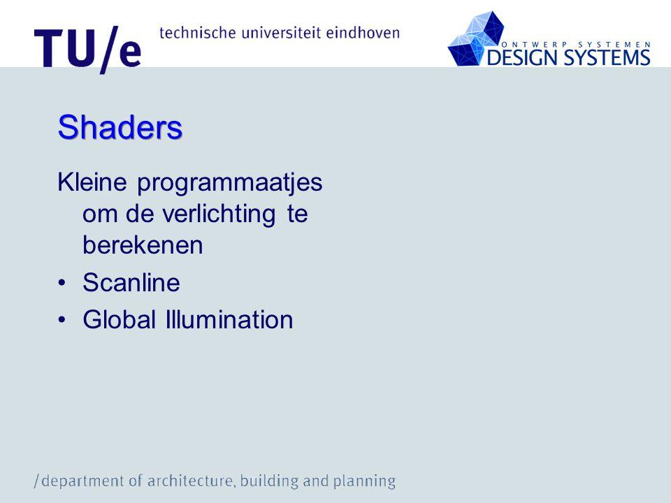 Shaders Kleine programmaatjes om de verlichting te berekenen Scanline Global Illumination