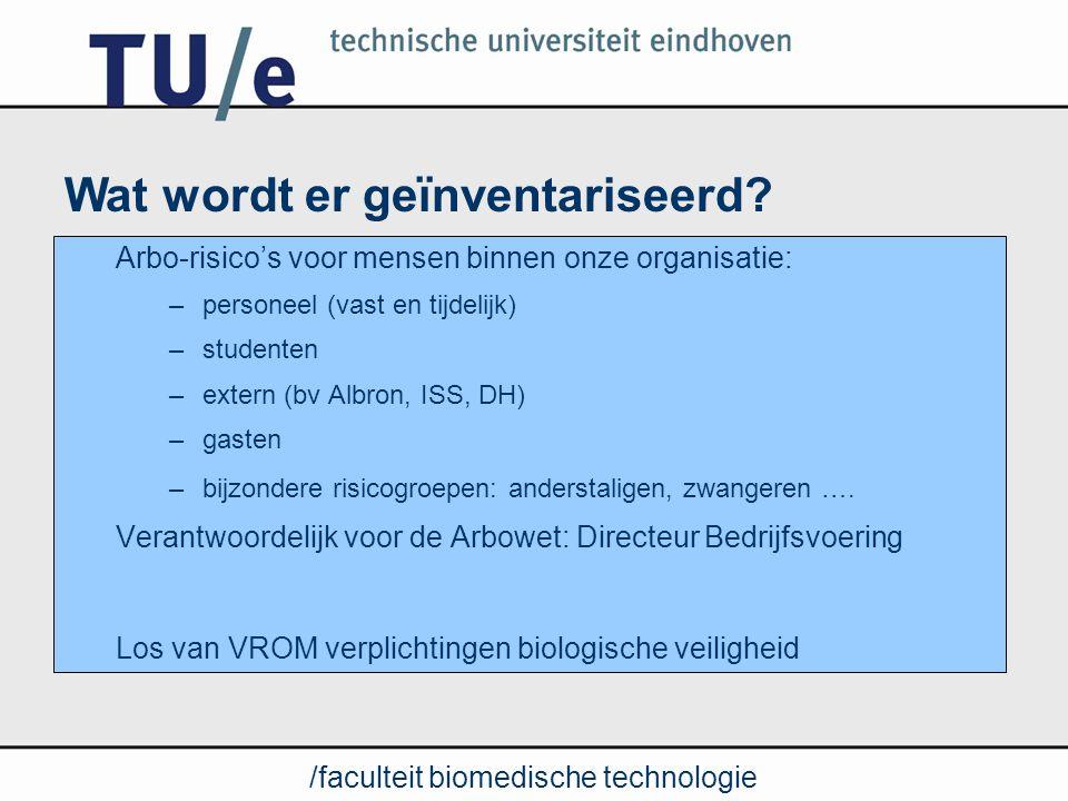 /faculteit biomedische technologie Vanuit Arbowet (artikel 5) Meepraten over gevolgde methodiek Kopie rapport van RI&E Inhoud, diepgang, compleetheid is taak van kerndeskundige (AMSO) Lid projectteam Jaarlijks bespreken van update Plan van Aanpak Rol faculteitsraad in RI&E