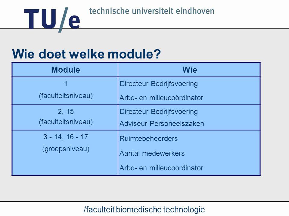 /faculteit biomedische technologie Stappenplan (zie ook memo) 1.Voorbereiden uitvoering –Opvragen RI&E TN en ST 2.Formeren projectteam 3.Inventariseren en evalueren: –arbo-beleid(faculteitsniveau) –arbo-knelpunten (groepsniveau) 4.Prioriteiten stellen en opstellen Plan van Aanpak (PvA) 5.Eindrapportage en informeren medezeggenschap 6.Uitvoeren van PvA (meerjarenplan) 7.PvA jaarlijks actualiseren (medezeggenschap)
