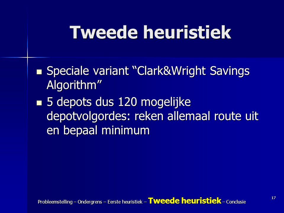 """17 Probleemstelling – Ondergrens – Eerste heuristiek – Tweede heuristiek – Conclusie Tweede heuristiek Speciale variant """"Clark&Wright Savings Algorith"""