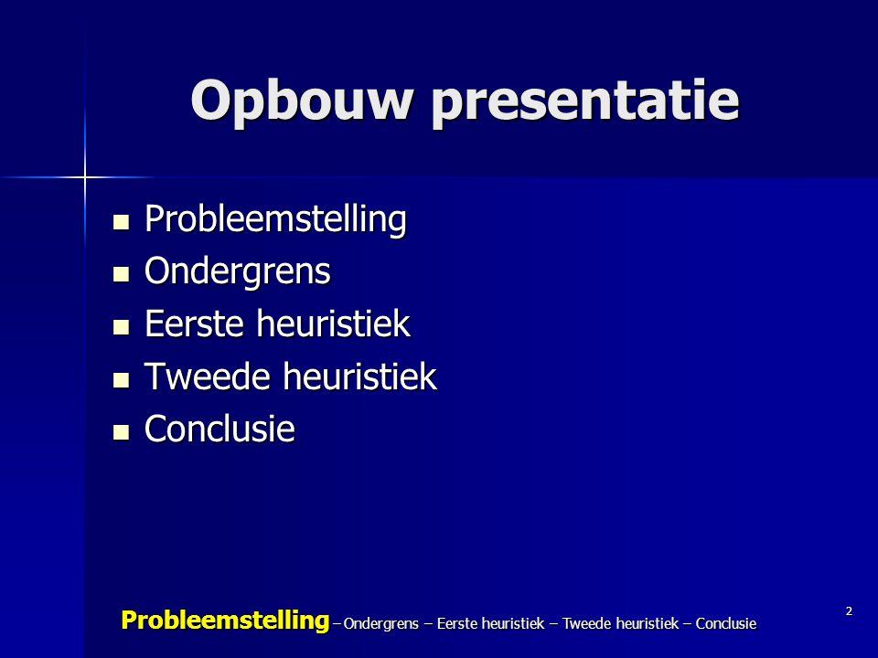 2 Probleemstelling – Ondergrens – Eerste heuristiek – Tweede heuristiek – Conclusie Opbouw presentatie Probleemstelling Probleemstelling Ondergrens On
