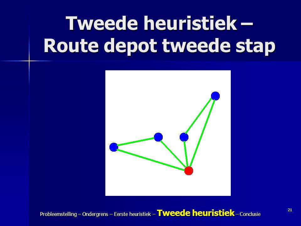 21 Probleemstelling – Ondergrens – Eerste heuristiek – Tweede heuristiek – Conclusie Tweede heuristiek – Route depot tweede stap