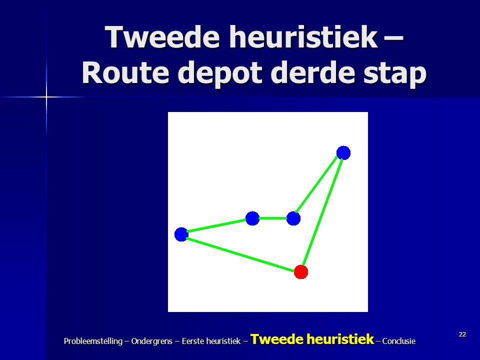 22 Probleemstelling – Ondergrens – Eerste heuristiek – Tweede heuristiek – Conclusie Tweede heuristiek – Route depot derde stap