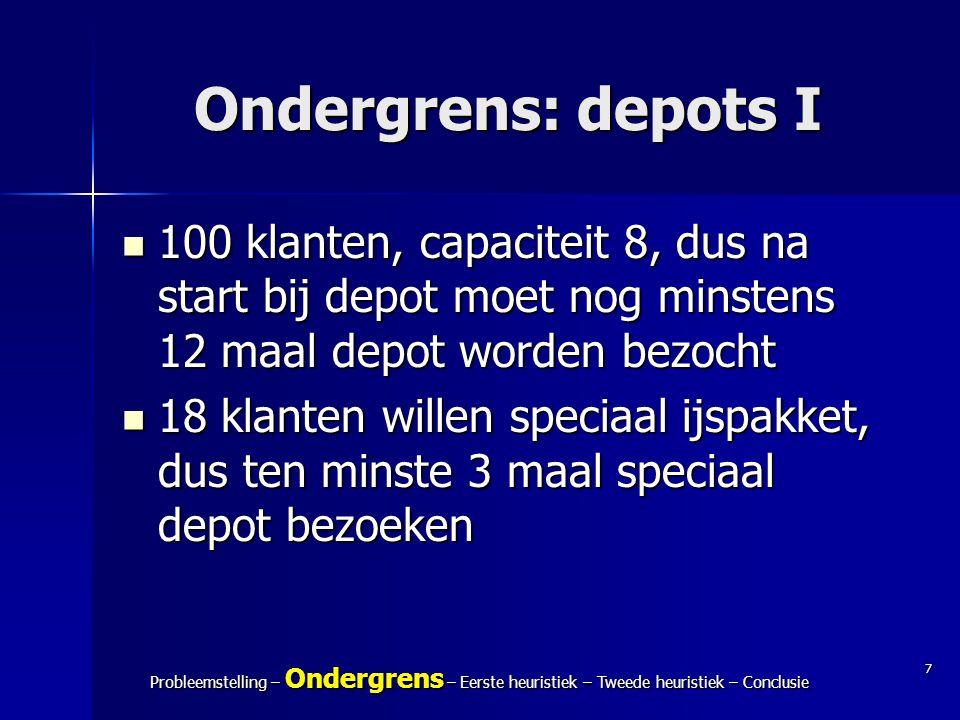 7 Probleemstelling – Ondergrens – Eerste heuristiek – Tweede heuristiek – Conclusie Ondergrens: depots I 100 klanten, capaciteit 8, dus na start bij d