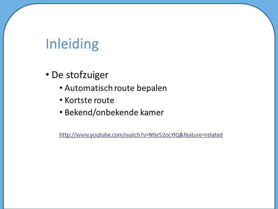 Inleiding De stofzuiger Automatisch route bepalen Kortste route Bekend/onbekende kamer http://www.youtube.com/watch?v=Nfsr52ocYlQ&feature=related