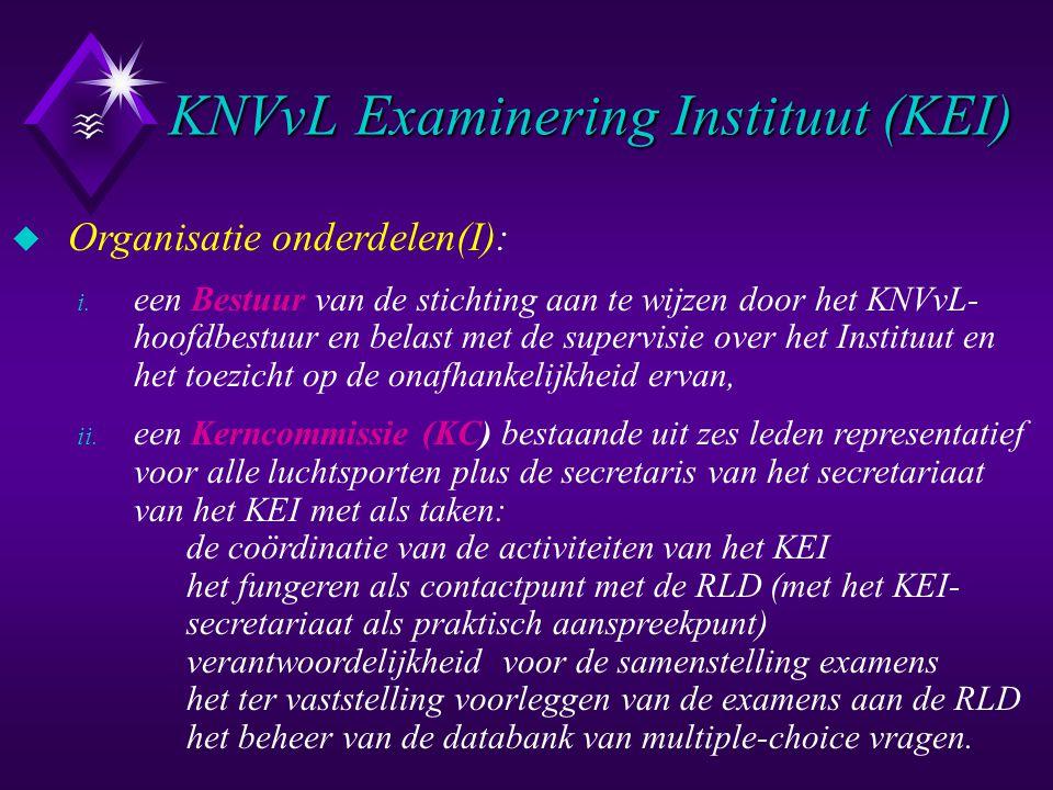KNVvL Examinering Instituut (KEI) u Organisatie onderdelen(I): i. een Bestuur van de stichting aan te wijzen door het KNVvL- hoofdbestuur en belast me