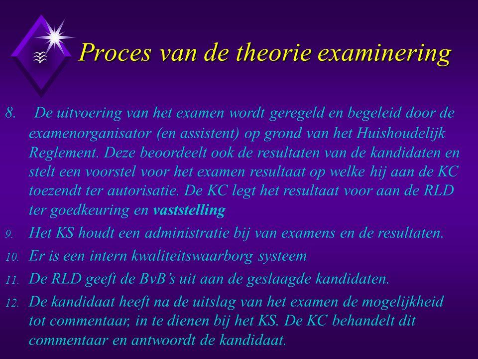 Proces van de theorie examinering Proces van de theorie examinering 8. De uitvoering van het examen wordt geregeld en begeleid door de examenorganisat