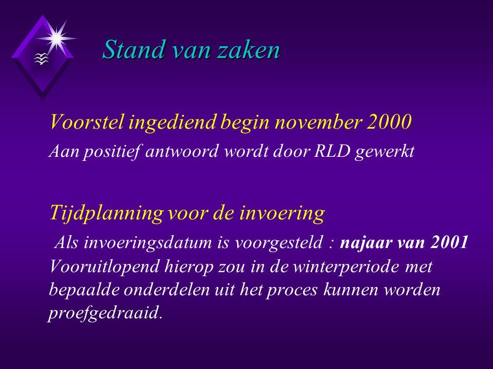 Stand van zaken Stand van zaken Voorstel ingediend begin november 2000 Aan positief antwoord wordt door RLD gewerkt Tijdplanning voor de invoering Als