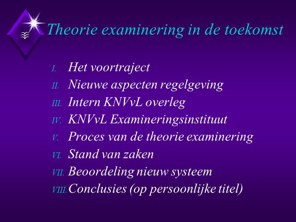 Theorie examinering in de toekomst I. Het voortraject II. Nieuwe aspecten regelgeving III. Intern KNVvL overleg IV. KNVvL Examineringsinstituut V. Pro