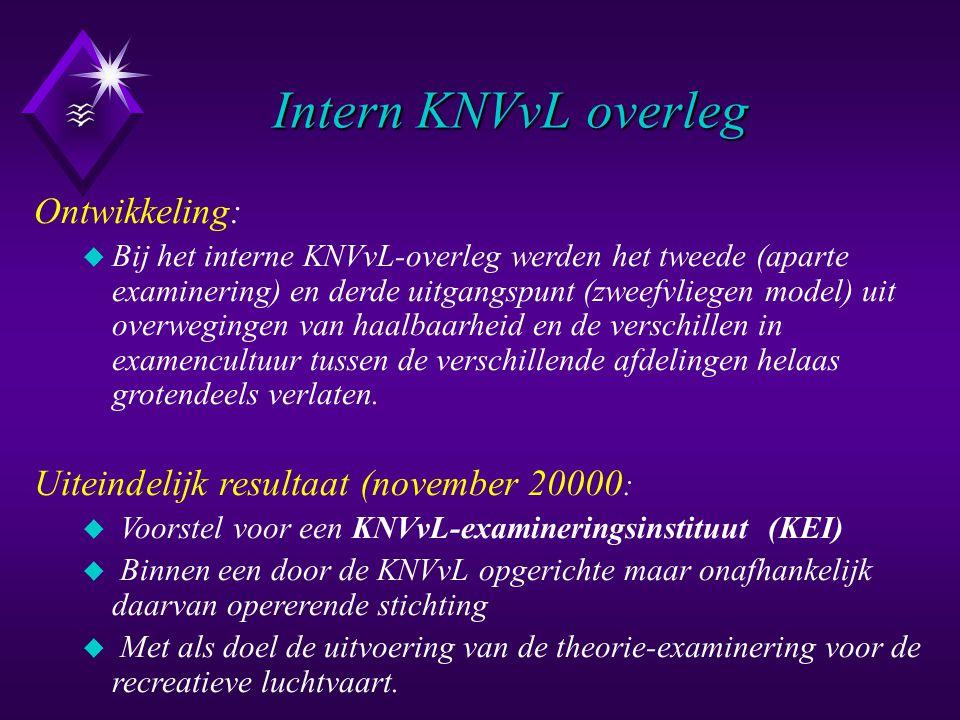 Intern KNVvL overleg Ontwikkeling: u Bij het interne KNVvL-overleg werden het tweede (aparte examinering) en derde uitgangspunt (zweefvliegen model) u