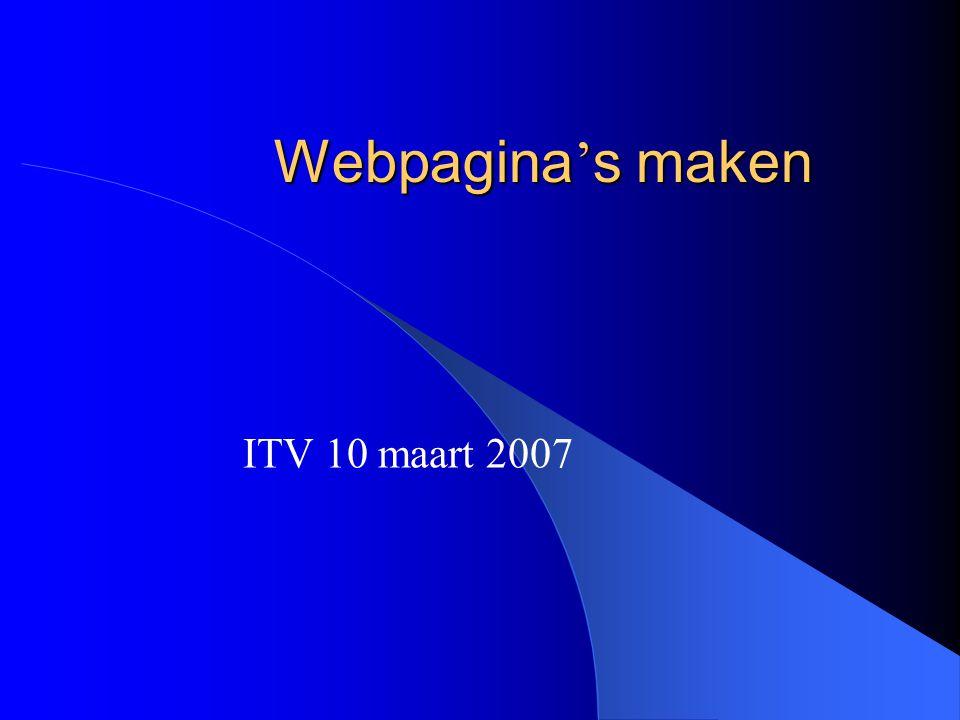 Webpagina ' s maken ITV 10 maart 2007