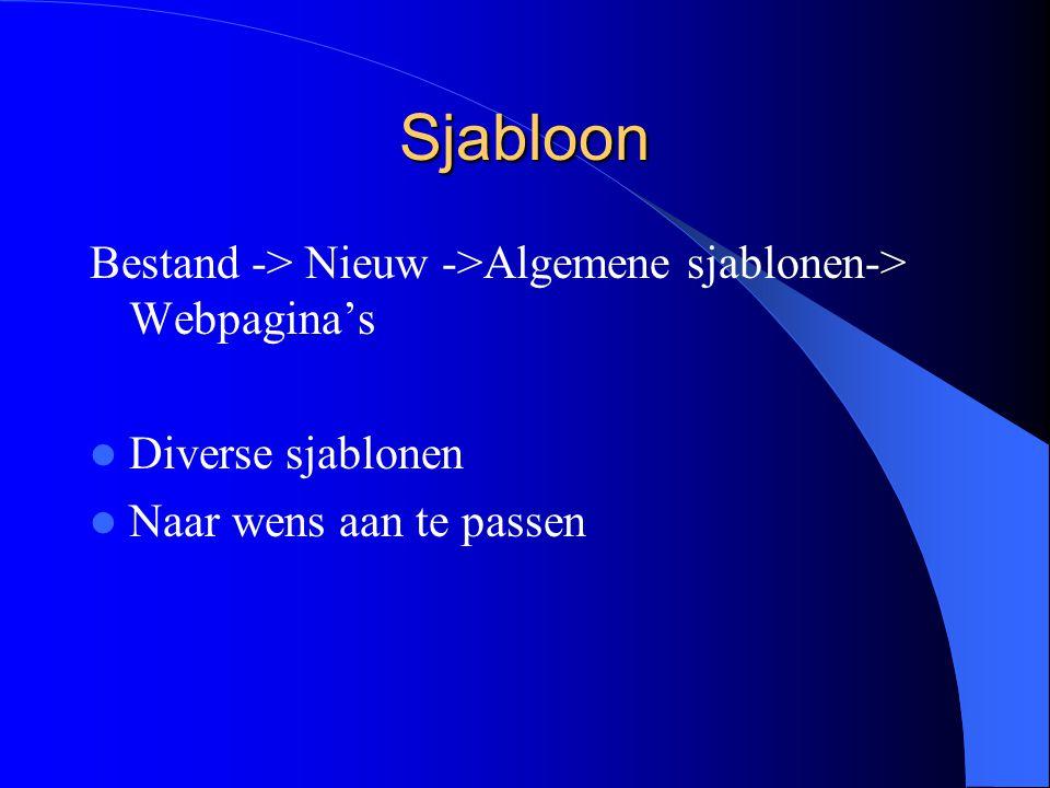 Sjabloon Bestand -> Nieuw ->Algemene sjablonen-> Webpagina's Diverse sjablonen Naar wens aan te passen