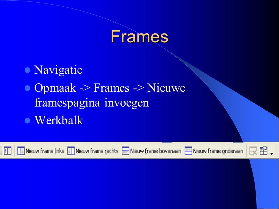 Frames Navigatie Opmaak -> Frames -> Nieuwe framespagina invoegen Werkbalk