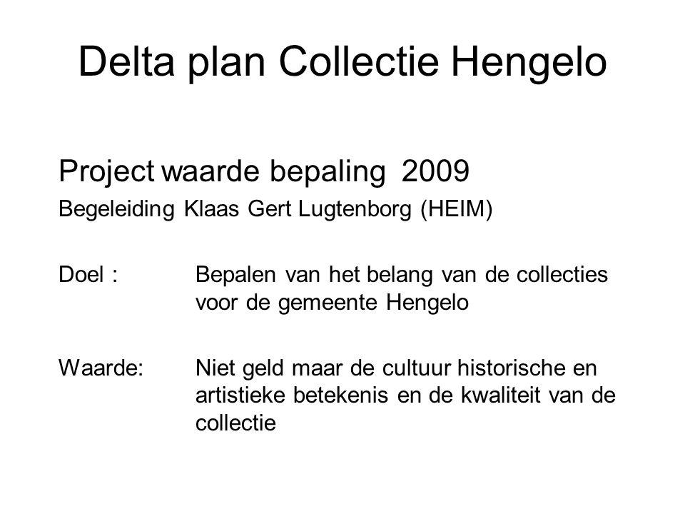 Delta plan Collectie Hengelo Project waarde bepaling 2009 Begeleiding Klaas Gert Lugtenborg (HEIM) Doel : Bepalen van het belang van de collecties voo
