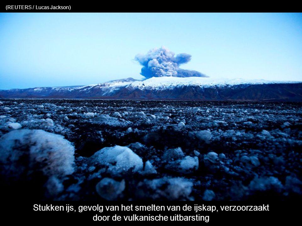 De hulpdiensten helpen de eigenaars om het vulkanisch stof te verwijderen van hun dak (KOLBEINS HALLDOR / AFP / Getty Images)