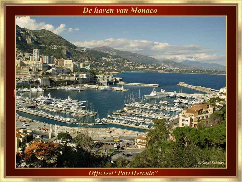 De steile rots Zicht op het Grimaldi paleis op de rots, en een deel van de haven van Monaco
