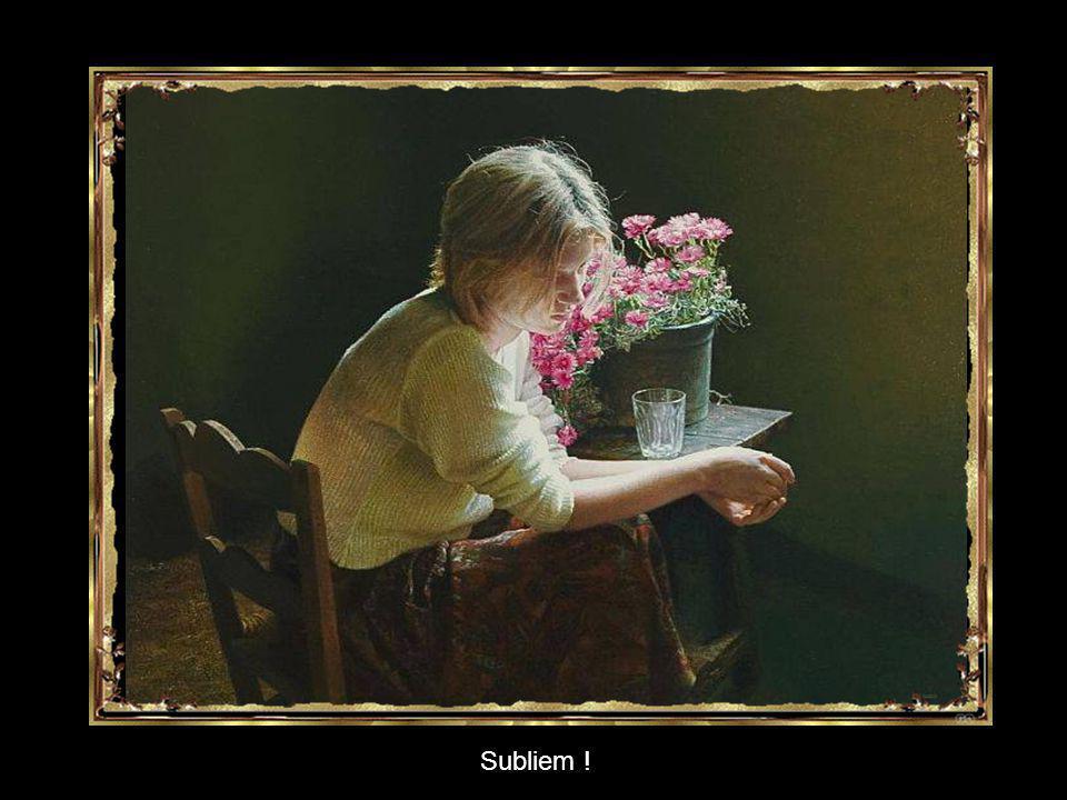 Bewonder nu het laatste schilderij, de transparantie van het glas, de details van de kleding, de bloemen... De haren… in het zachte licht !