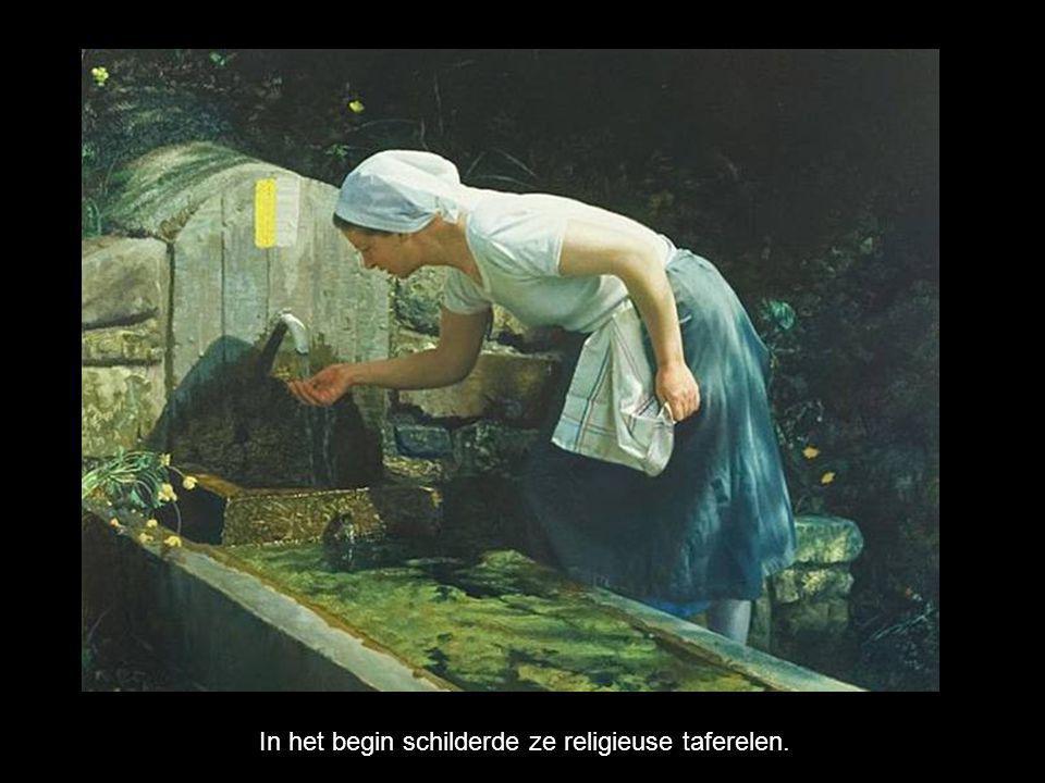 In het begin schilderde ze religieuse taferelen.