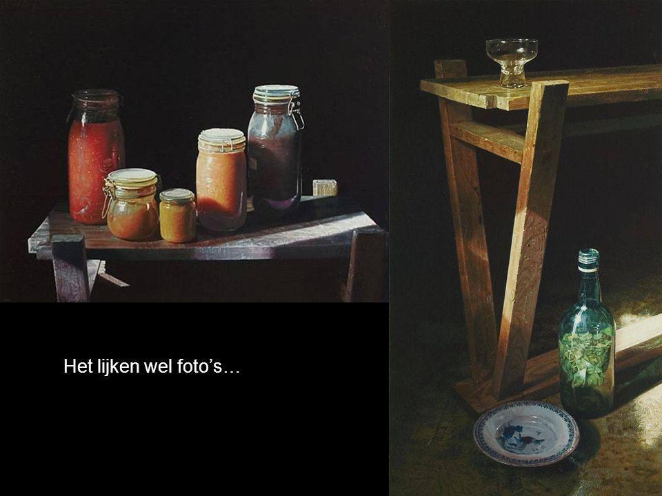 Bewonder nu het laatste schilderij, de transparantie van het glas, de details van de kleding, de bloemen...