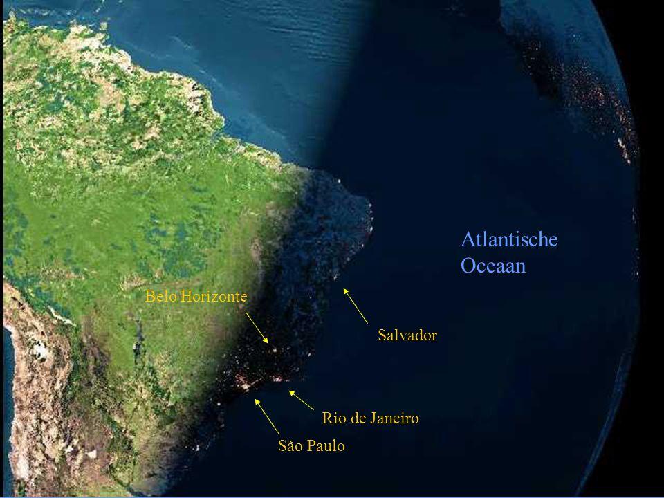 Atlantische Oceaan Salvador Rio de Janeiro São Paulo Belo Horizonte