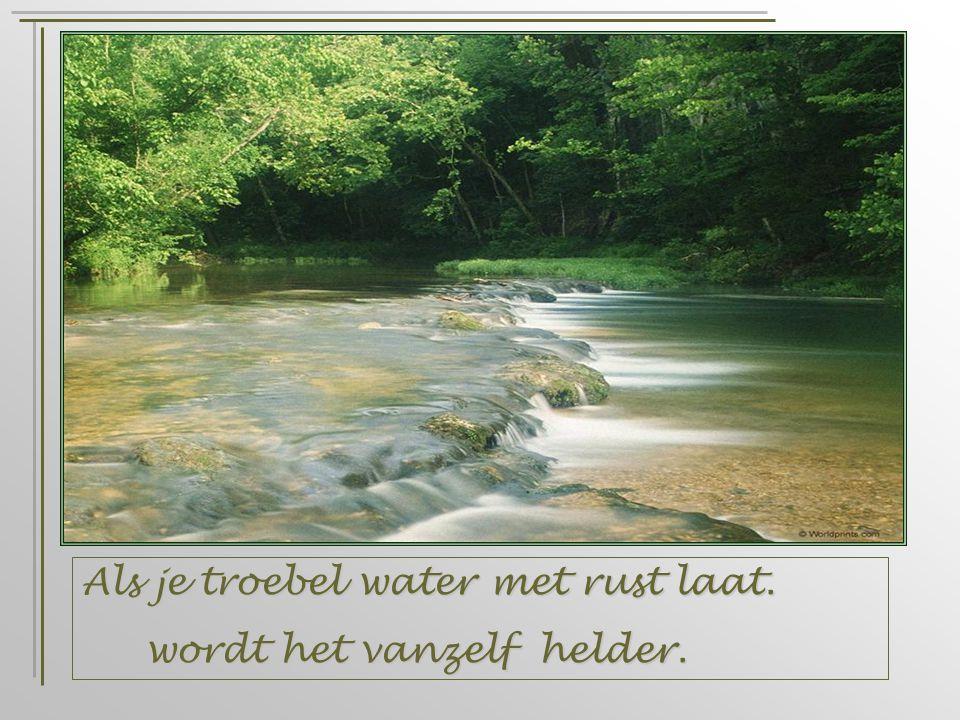 Als je troebel water met rust laat. wordt het vanzelf helder. wordt het vanzelf helder.