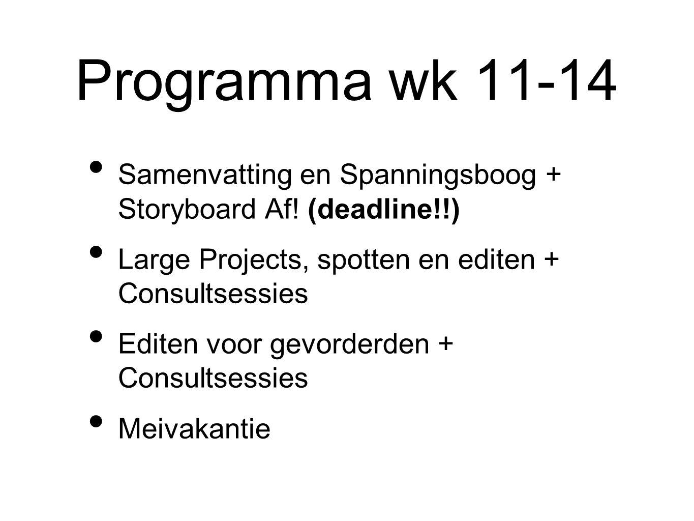 Programma wk 11-14 Samenvatting en Spanningsboog + Storyboard Af.