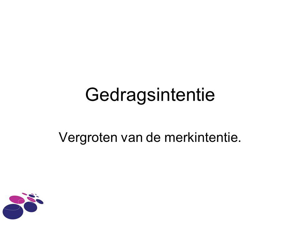 Gedragsintentie Vergroten van de merkintentie.