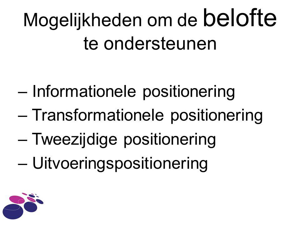 Mogelijkheden om de belofte te ondersteunen – Informationele positionering – Transformationele positionering – Tweezijdige positionering – Uitvoeringspositionering