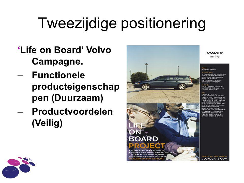 Tweezijdige positionering 'Life on Board' Volvo Campagne. –Functionele producteigenschap pen (Duurzaam) –Productvoordelen (Veilig)