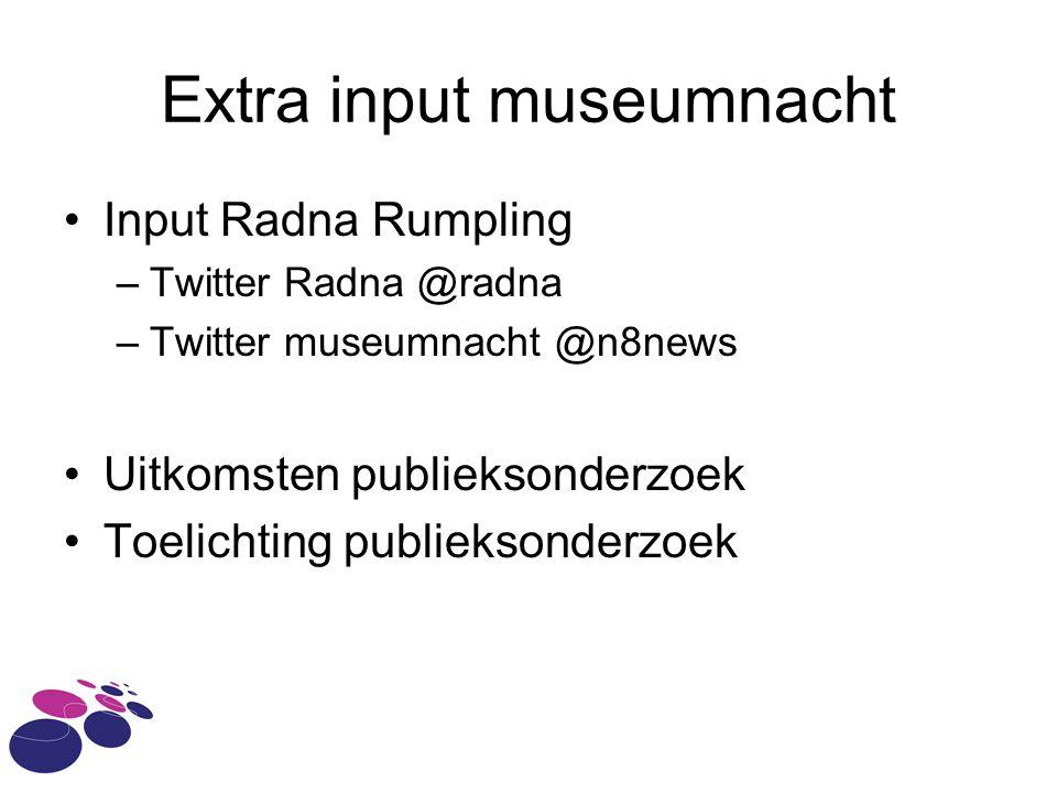 Extra input museumnacht Input Radna Rumpling –Twitter Radna @radna –Twitter museumnacht @n8news Uitkomsten publieksonderzoek Toelichting publieksonder