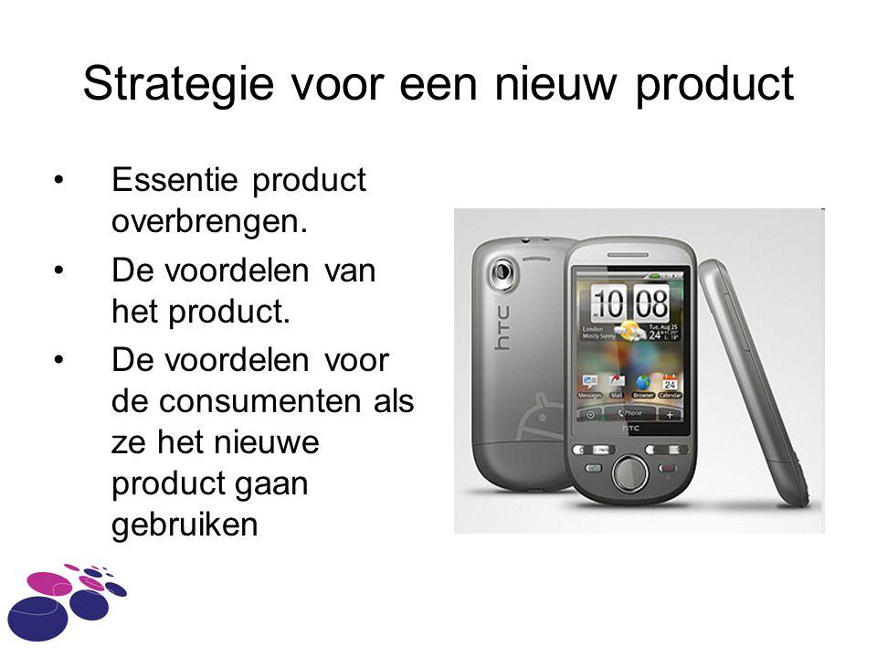 Strategie voor een nieuw product Essentie product overbrengen.