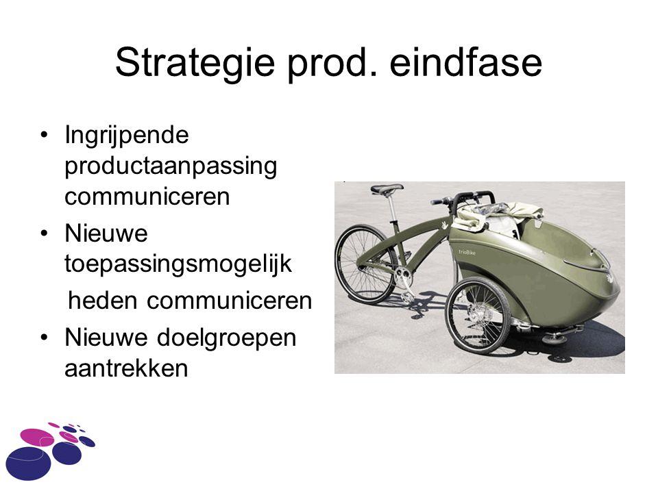 Strategie prod. eindfase Ingrijpende productaanpassing communiceren Nieuwe toepassingsmogelijk heden communiceren Nieuwe doelgroepen aantrekken