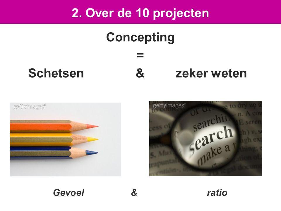 Concepting = Schetsen & zeker weten 2. Over de 10 projecten Gevoel & ratio