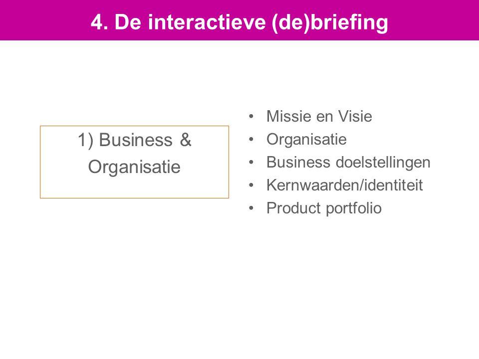 1) Business & Organisatie Missie en Visie Organisatie Business doelstellingen Kernwaarden/identiteit Product portfolio 4.