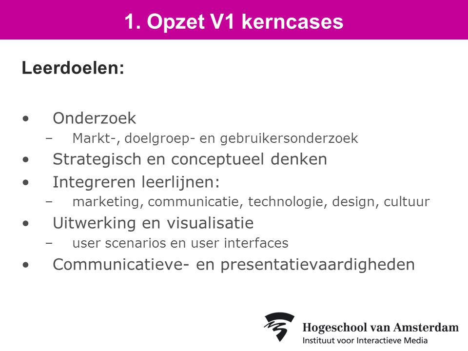 Leerdoelen: Onderzoek –Markt-, doelgroep- en gebruikersonderzoek Strategisch en conceptueel denken Integreren leerlijnen: –marketing, communicatie, technologie, design, cultuur Uitwerking en visualisatie –user scenarios en user interfaces Communicatieve- en presentatievaardigheden 1.