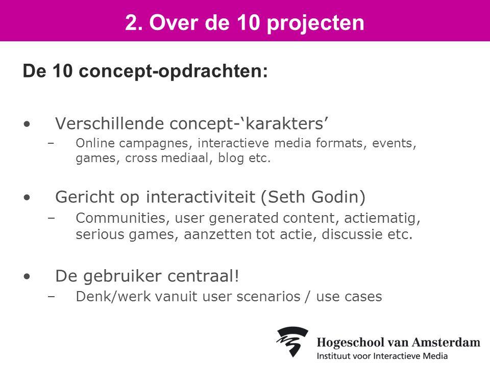 De 10 concept-opdrachten: Verschillende concept-'karakters' –Online campagnes, interactieve media formats, events, games, cross mediaal, blog etc.