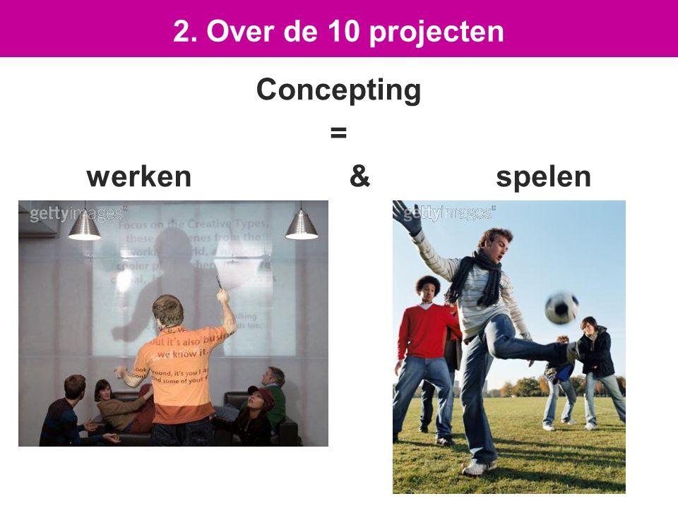 Concepting = werken & spelen 2. Over de 10 projecten