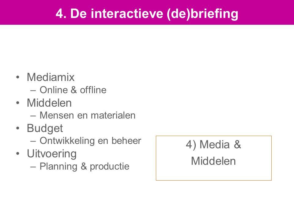 4) Media & Middelen Mediamix –Online & offline Middelen –Mensen en materialen Budget –Ontwikkeling en beheer Uitvoering –Planning & productie 4.