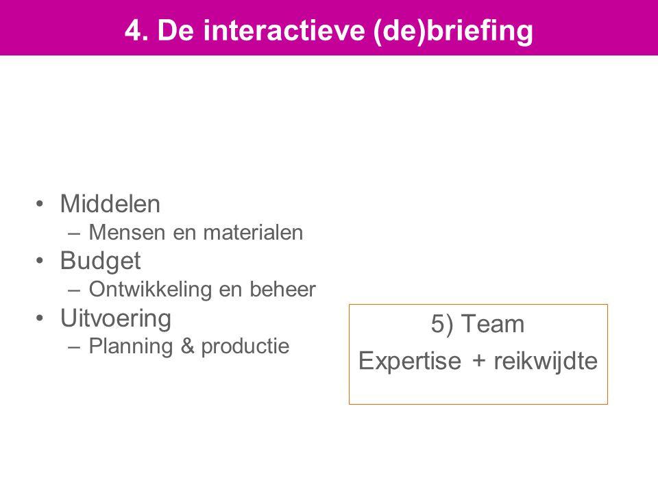 5) Team Expertise + reikwijdte Middelen –Mensen en materialen Budget –Ontwikkeling en beheer Uitvoering –Planning & productie 4.