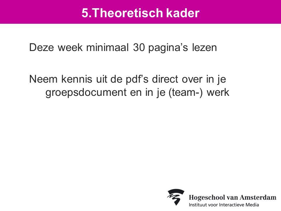 Deze week minimaal 30 pagina's lezen Neem kennis uit de pdf's direct over in je groepsdocument en in je (team-) werk 5.Theoretisch kader